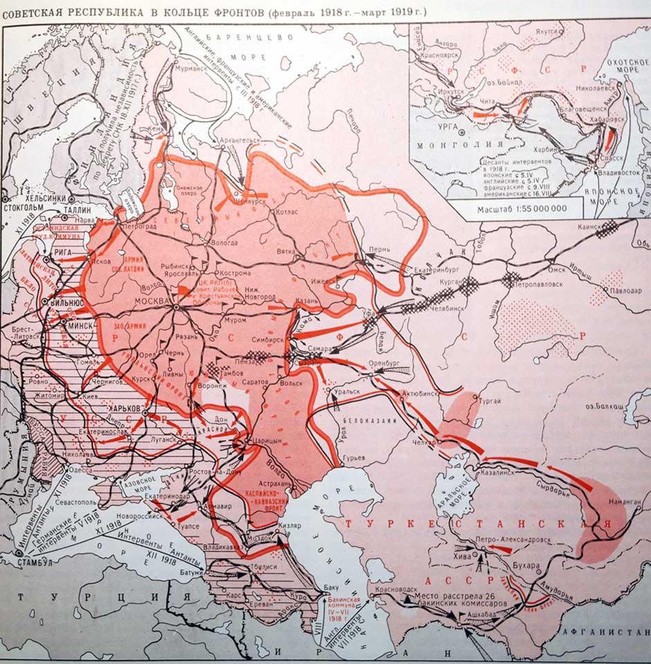 Советская Республика в кольце фронтов 23 февраля 1918